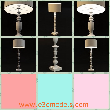 3d model the table lamp with a fine holder - This is a 3d model of the table lamp with a fine holder,which is pretty and small.The model is made of ivory materials.