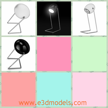 3d model the table lamp with the crooked leg - This is a 3d model of the table lamp with the crooked leg,which is special and the head of the lamp is movable.