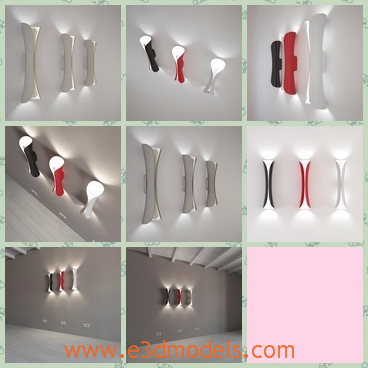 3d model the wall with lamps - This is a 3d model about the wall with lamps on it,which is special and modern.The model is made in high quality and it is the model fo the Italian factory.