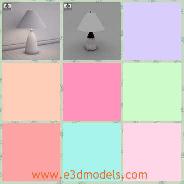 3d model the white lamp - This is a 3d model of the white lamp on the ground and the shape is special and charming.The light is on and the light from the lamp is soft and mild.