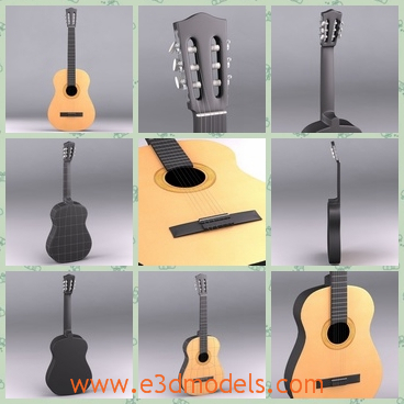 3d model a classic guitar with high quailty - This is a 3d model of a classic acoustic guitar.The main part of the guitar is made of wood.The upper part is plastic.