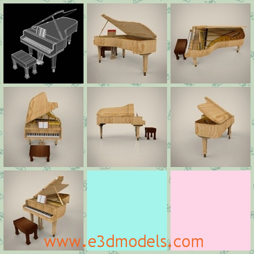 3d model a wooden piano - This is a 3d model of a wooden piano,which has a stool beside it.The piano is not so big,and it is suppoted by two thin legs.