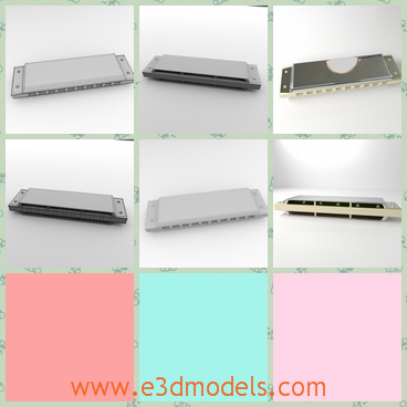 3d model of a harmonica - This is a 3d model about a harmonica. This harmonica has smooth sliver surfces and it is made with steel,plastic and other textures.