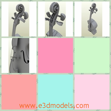 3d model of violoncello - This 3d model is about a big violoncello which is a musical instrument. This violoncello is made of high quality wood and it is very long.