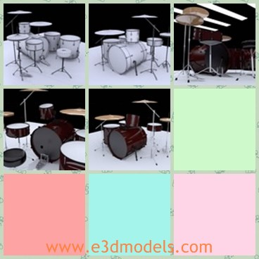 3d model the drum - This is a 3d model about the drum,which is large and round.The heads of the drum is made of the reel cowhide.