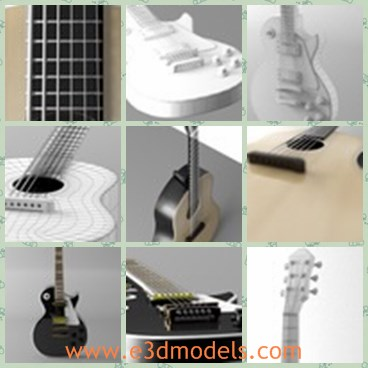 3d model the electric guitar - This is a 3d model of the electric guitar,which is acoustic and made with wooden materials.The strings are made of steel materials.