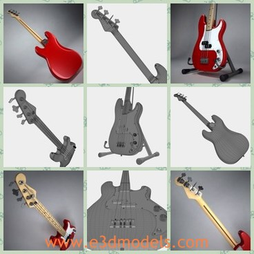 3d model the guitar in red - This is a 3d model of the guitar in red,which is modern and popular among young people.