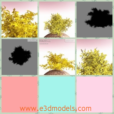 3d model the bushes - This is a 3d model of the bush,which is a kind of plant on earth.The model is yellow and the leaves are spreading everywhere.