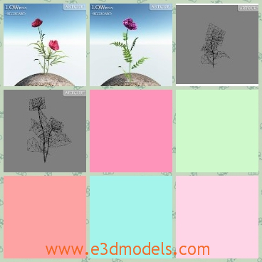 3d model the pink flowers - This is a 3d model of the pink flowers,which is curved a little.The model is planted in a billboard.