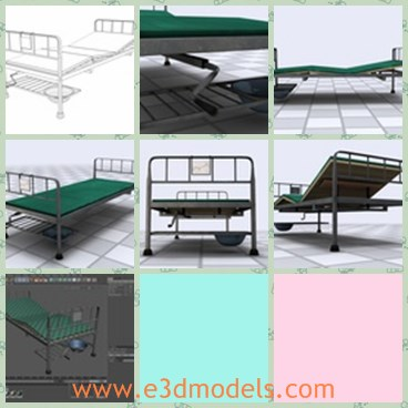 3d model the adjustable bed - This is a 3d model of the adjustable bed,which is a hospital bed.It was created in Cinema 4D.The bed is singel and simply made.