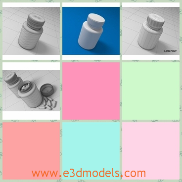 3d model the bottles of pills - This is a 3d model of the bottles of pills,which are white and small.The model is made of plastic materials.