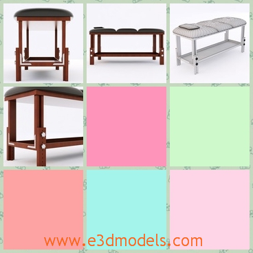 3d modell the massage table with a leather cover - This is a 3d model of the massage table ,which is covered with the leather materials and the legs are linked to each other solidly.