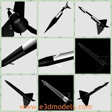 3d model the black rocket - This is a 3d model of the black rocket,which is firstly made in Canada.The rocket is the popular one in military.