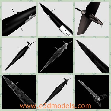 3d model the black rocket - This is a 3d model of the black rocket,which is made in Canada and USA.The rocket is fast and common in the military of the world.