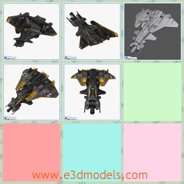 3d model the fighter in black - This is a 3dmodel of the fighter in black,which is actually the starship.The shape is special and practical.