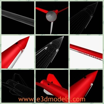 3d model the red rocket - This is a 3d model of the red rocket,which is firstly  fired in the early 1960s, the spin stabilized, single stage Black Brant III was a scaled down rocket from the BB II for carrying small payloads into the lower atmosphere