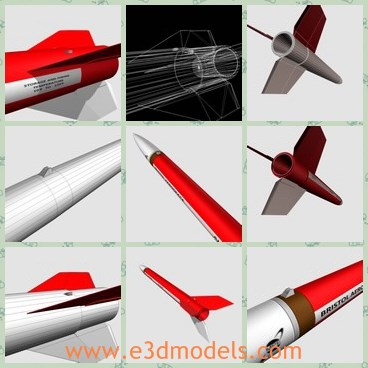 3d model the rocket with red body - This is a 3d model of the rocket with red body,which is the common army rocket.