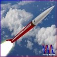 3d model the rocket with red body