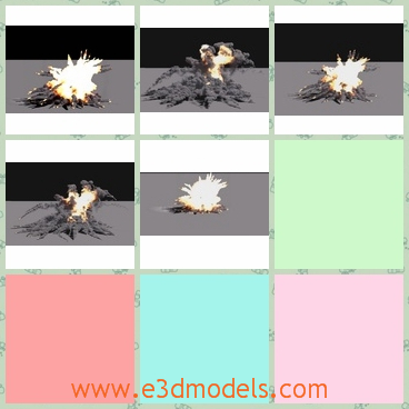 3d model the explosion of a bomb - This is a 3d model of the explosion of a bomb,which shapes a flame.The model smoke is heavy.