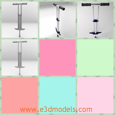 3d model a pogo stick - This is a 3d model of a pogo,which is a sport stool.The equipment is used to jump and the jumper must has the special skills.