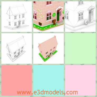 3d model of a dollhouse - This 3d model is about a cute dollhouse which is a small two-storey house. It is a delightful pink house with big windows and a tall door.