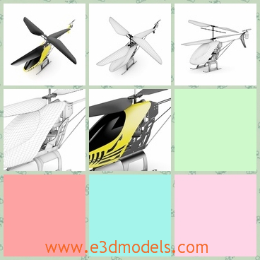 3d model of a RC helicopter - There is a 3d model which is about a RC helicopter. This helicopter has a big propeller and its body is painted yellow and black.