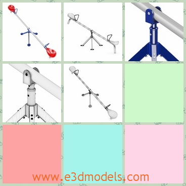3d model of a seasaw - This 3d model is about a simple seasaw which consists of a long iron pole and two seats on both ends of the seasaw.