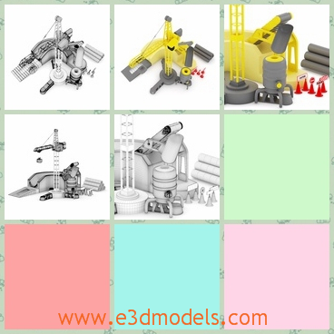 3d model of a toy crane - This 3d model is about a toy crane which is made of plastic. It looks very much like a real yellow crane but of a much smaller size.