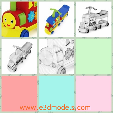 3d model of a toy train - There is a 3d model which is about a delightful toy train. This toy train is made of colorful plastic and it has a red body with a blue roof.