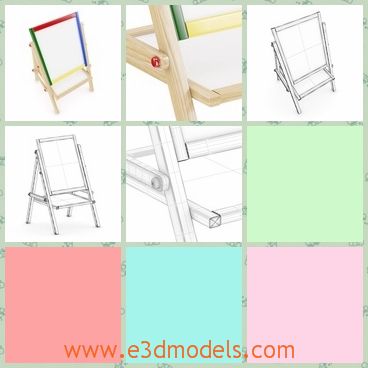 3d model of an easel - This is a 3d model which is about an easel which consists of a big drawing board and a wooden stand. You can use it to drawing pictures.