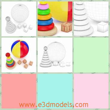 3d model of blocks and a ball - There is a 3d model about a colorful ball and colorufl blocks which are for little children. The blocks are some round pieces of different sizes.