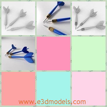 3d model of darts - There we have a 3d model which is about three darts. These darts are blue and have a thin needle and a pretty tail.