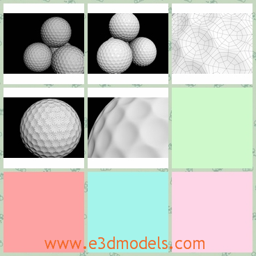 3d model of golf balls - This 3d model is about three golf balls. This kind of ball is made by fine solid plastic and it is white and has small concaves on its surface.