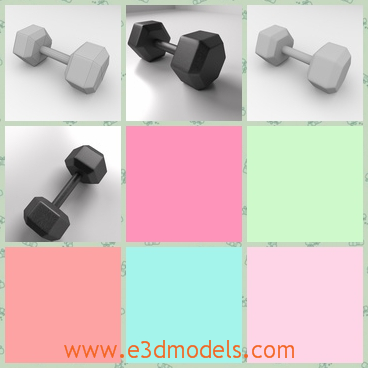 3d model of hexagon dumbbell - This is a 3d model of a hexagon dumbbell. This dumbbell has a short iron bar and two hexagon weights on each side of the bar.