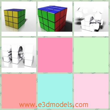 3d model of rubic cube - This is a 3d model of a rubic cube whose six sides have different colors. This cube is made of plastic and has a smooth surface.