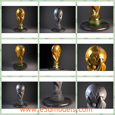 3d model the award in gold - This is a 3d model of the award in gold,which is the trophy for winners and the cup is very precious.