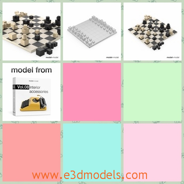 3d model the chess game - This is a 3d model of the chess,which was made in modern style.The chess set is the famouse game in China and now it is widely spread in the world.
