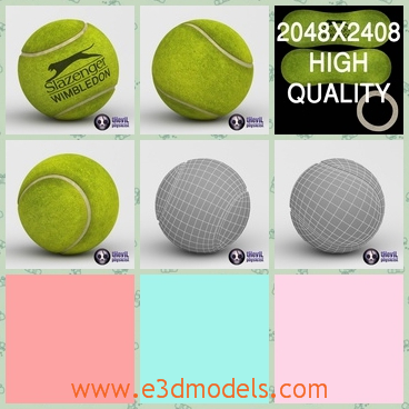 3d model the green tennis ball - This is a 3d model of the green tennis ball,which is the Slazenger brand and the green is obvious.