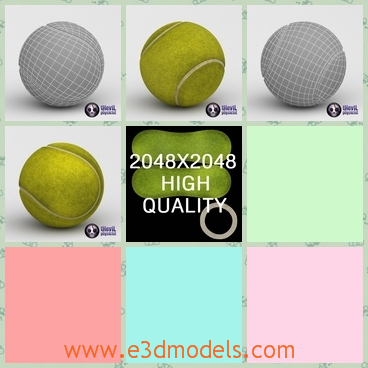 3d model the tennis ball with great textures - This is a 3d model of the tennis ball with great textures,which is made in high quality.The model is used by the professional players.
