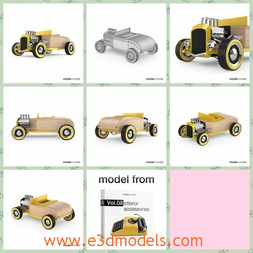 3d model the toy car - This is a 3d model os the toy car made in wood,which is cute and charming for kids.The car has medium amount of polygons and accurate grid.