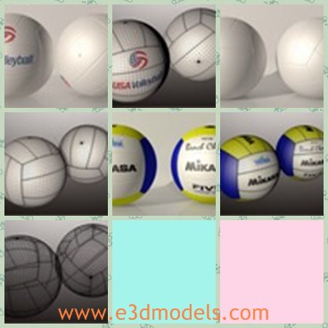 3d model the volleyball - This is a 3d model of the volleyball,which is white and round.The model has words on it,and the ball is made with good quality.