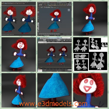 3d models of a redhead doll - This is a 3d low poly model which is about a redhead doll.It was designed to provide a high definition in a low poly.