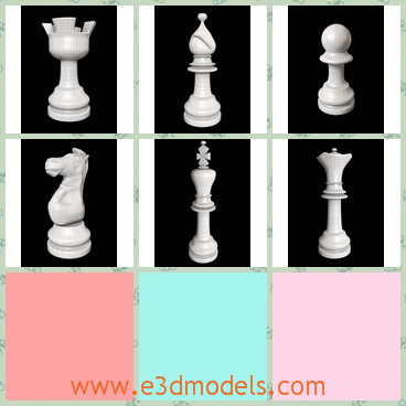 3d models of chess set - Here are six 3d models which are about chess set which are made of ceramic. There we have a pawn, a bishop, a knight, a rook, a queen and a king.