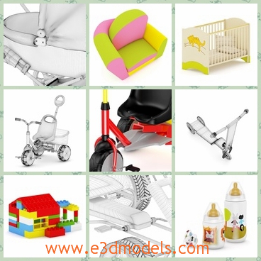 3d models of colorful toys - These highly detailed 3d models are about toys collection which include a tricycle, a small house and many other toys.