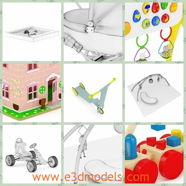 3d models of toys collection - These are 3d models which are about toys and these models are mapped and have materials and textures. They are compatible with 3ds max 2010 or higher and many others.
