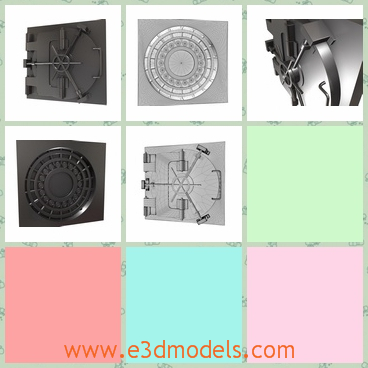 3d model of a vault door - This 3d model is about a vault door which is made of thick steel and it has an intricate structure so it is hard to open without a password.