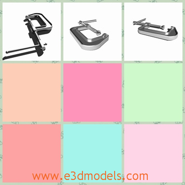 3d model the clamp - This is a 3d model of the clamp,which is the tool used in our daily life.The tool is made of metal materials and need to be careful when use it.