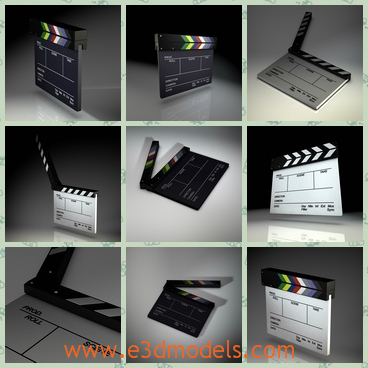 3d model the clapperboard of the film - THis is a 3d model of the clapperboard of the film,which is common and always is the black and white.