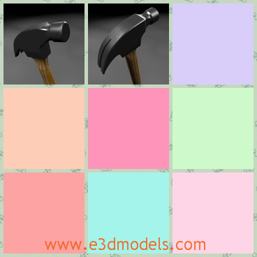 3d model the hammer - This is a 3d model of the hammer,which is made with wooden handle.The hammer is new and can be used as a tool in life.