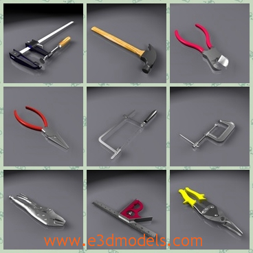 3d model the hand tools - This is a 3d model of the hand tools,which is the common tools in the life.The model includes a boxwrench set, channel lock, combination square, needle nose and square nose pliers.